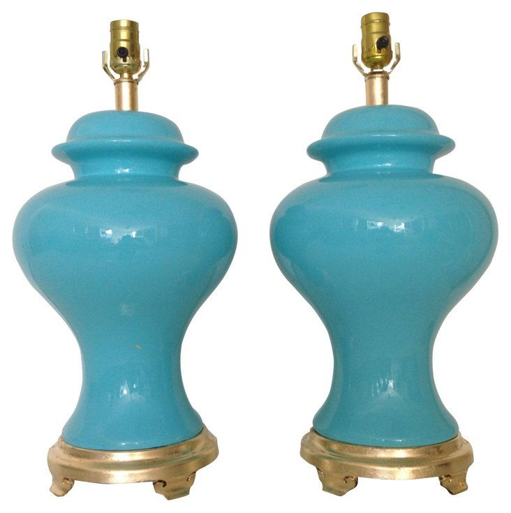 Turquoise Ginger  Jar Lamps, Pair