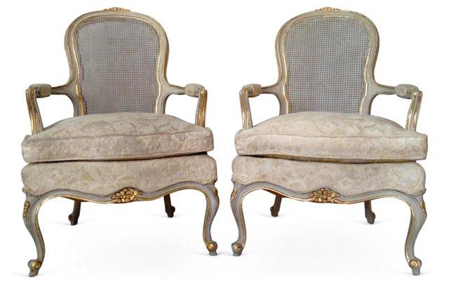 Louis XV-Style  Fauteuils,  Pair
