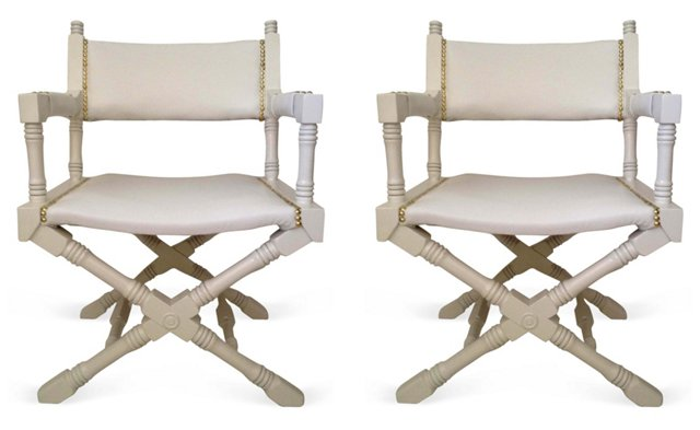 White Campaign-Style   Chairs, Pair