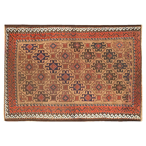 "Antique Persian Baluch Rug, 3'1"" x 4'6"""