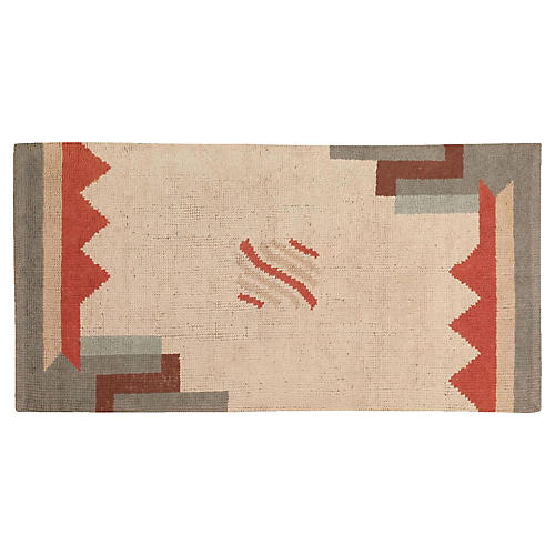 "French Art Deco Rug, 3' x 5'5"""