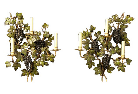 Tole Grape Sconces, Pair