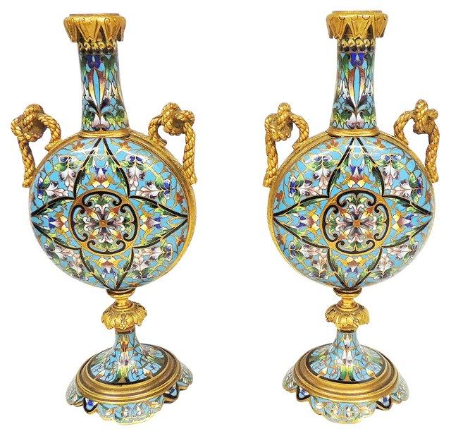 19th-C. Champlevé Enamel Vases, Pair