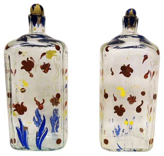Painted Decanters, C. 1900, Pair
