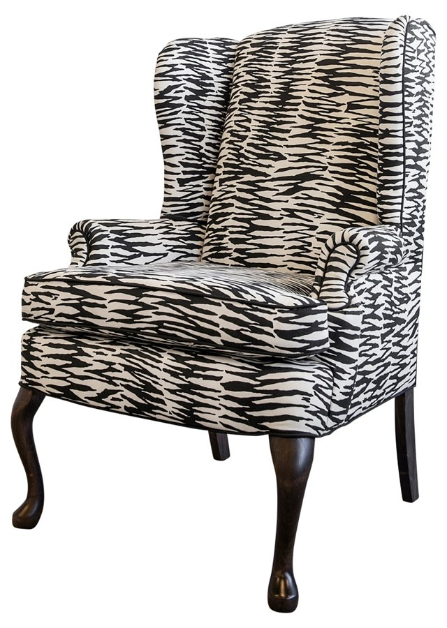 Wingback w/ Abstract Zebra Print