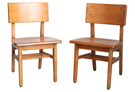 Mid-Century Modern Library Chairs, S/2