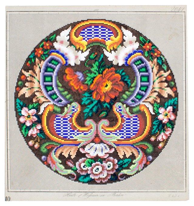Painted Needlepoint Design,  C. 1840