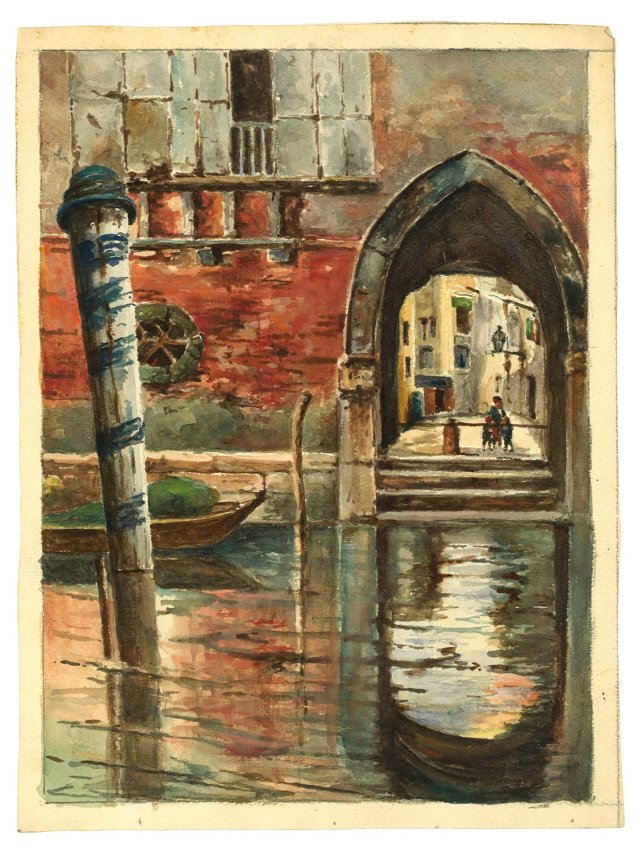 Watercolor of Canal in Venice, C. 1850