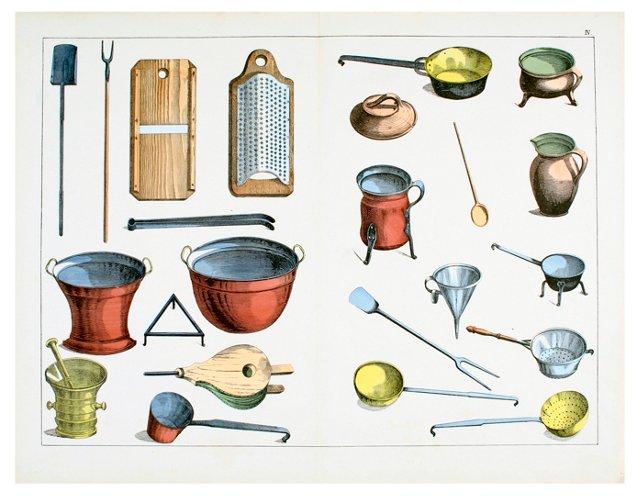 Hand-Colored Household Utensils, 1857