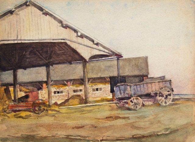19th-C. Watercolor of a Farm & Wagon
