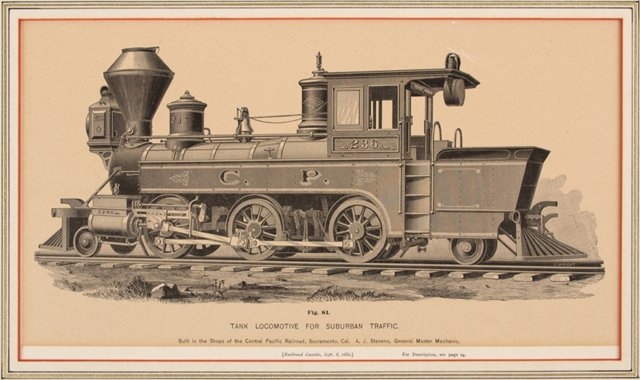 Central Pacific Railroad Engine C.1880