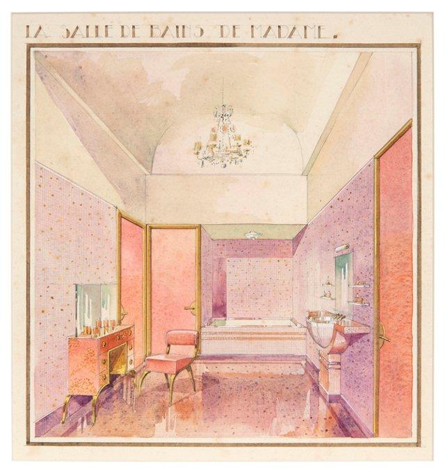 Art Deco Dressing Room Watercolor