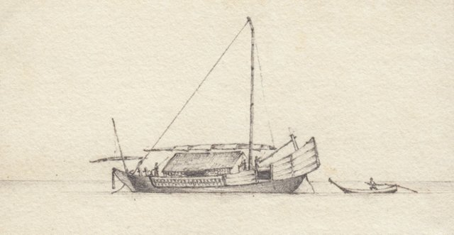 19th-C. Sailboat Graphite Drawing