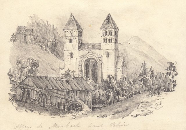 19th-C.  French Abbey Drawing