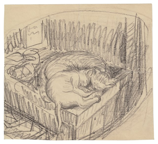 Sleeping Cat Drawing, Wanda Gag, C. 1937