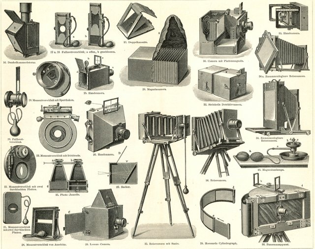 Lithograph of Early Cameras, C.1897
