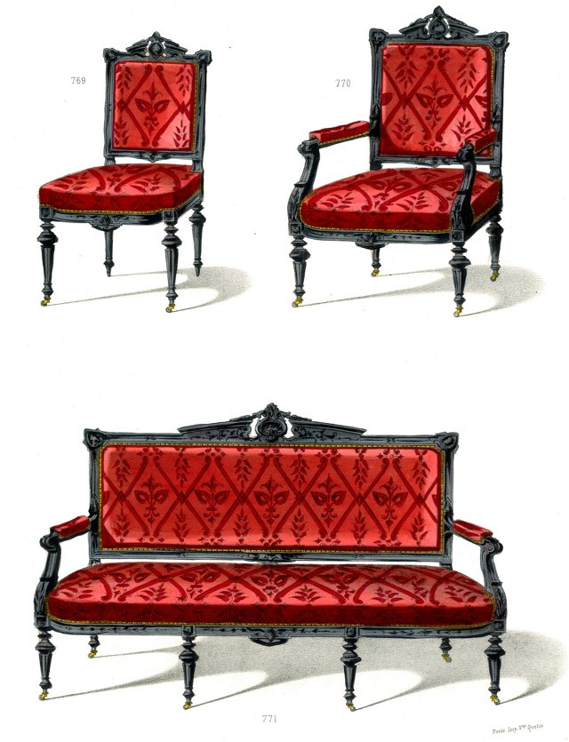 Red Chairs & Settee Designs, C. 1860