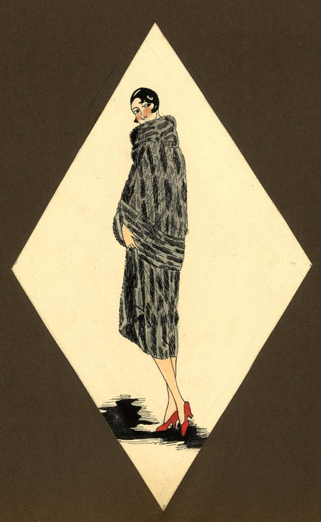 Art Deco Fashion Watercolor, C. 1925