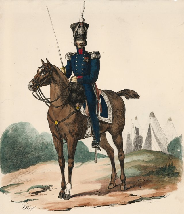 19th-C. Hand-Colored Dutch Colonel