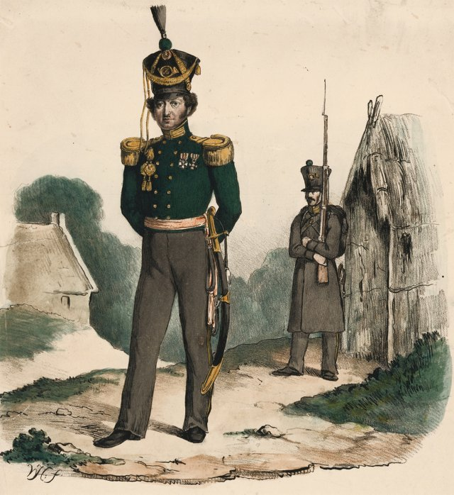 19th-C. Hand-Colored Dutch Officer