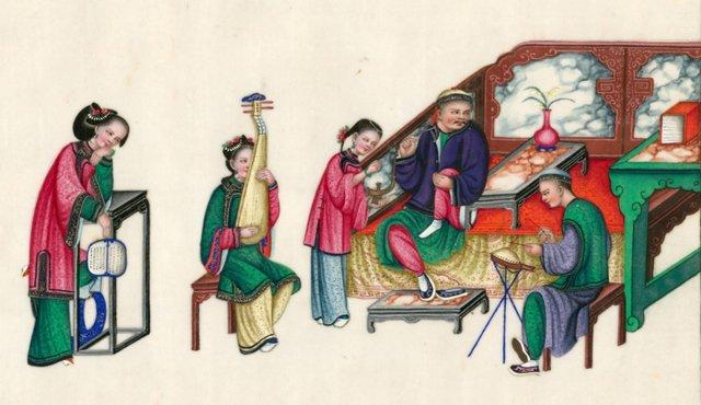 Chinese Court Musician Gouache, C. 1840