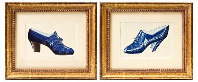 Art Deco Shoe Watercolors, Pair