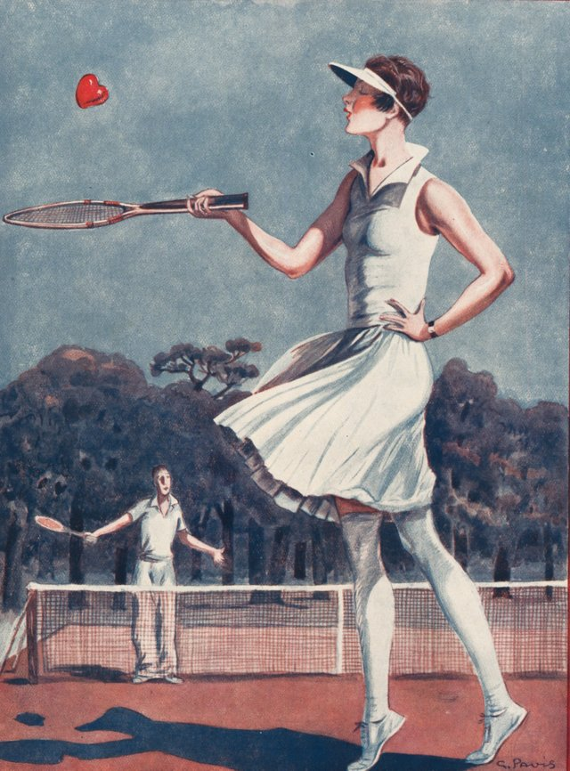 Lady and Love Tennis Lithograph, 1928