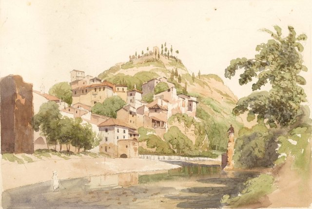 Watercolor of European Village, C. 1860