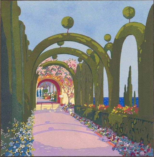 Art Deco Seaside Garden Pochoir, 1919