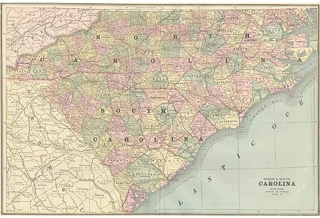 Map of North & South Carolina, 1889
