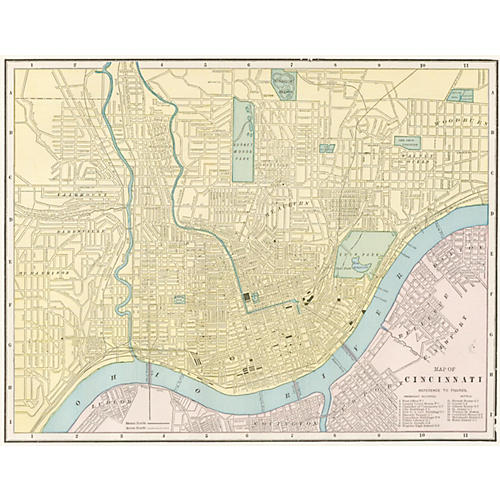 Map of Cincinnati, 1889