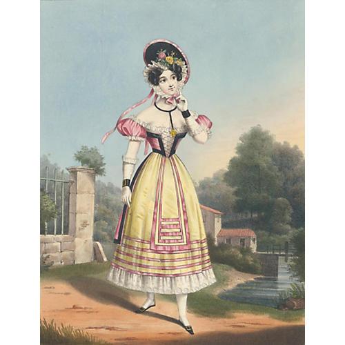 19th-C. Provençal Mademoiselle