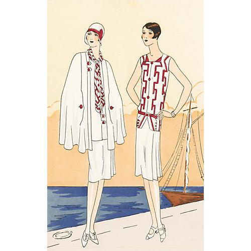 Deco French Riviera Fashion, C. 1925