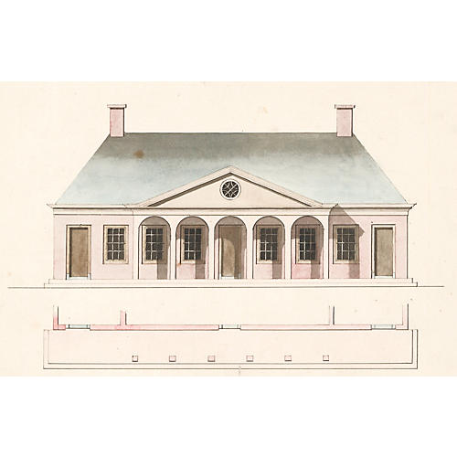 Palace Guard House Watercolor, C. 1820