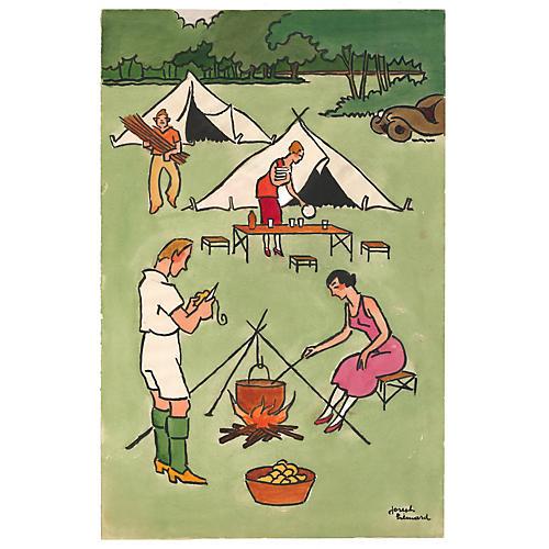 French Camping by Joseph Hémard, C. 1935