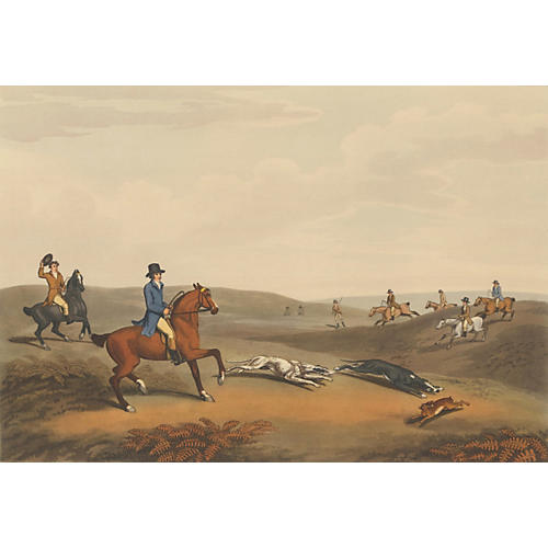 Rabbit Hunting Lithograph