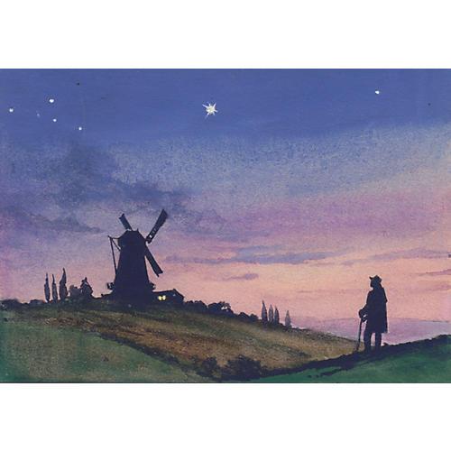 Windmill Silhouette Gouache, C. 1920