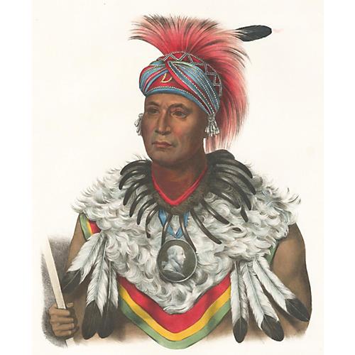 Musquakee Chief, McKenney & Hall, C.1850