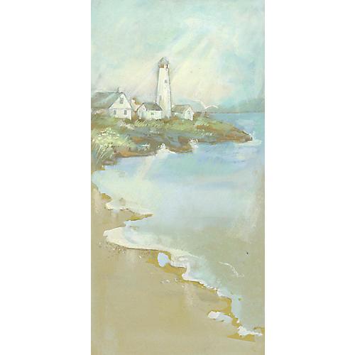Gouache of a Lighthouse on a Harbor