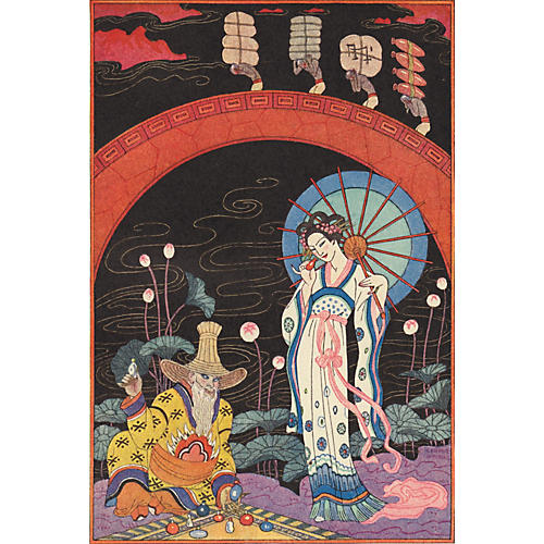 Chinese Woman w/Parasol by Barbier, 1928