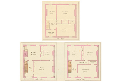 Watercolor Floor Plans, C. 1860, Pair