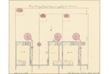 Watercolor Floor Plan , 1863