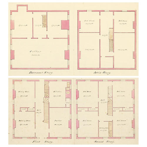 Watercolor Floor Plans, 1869, Pair
