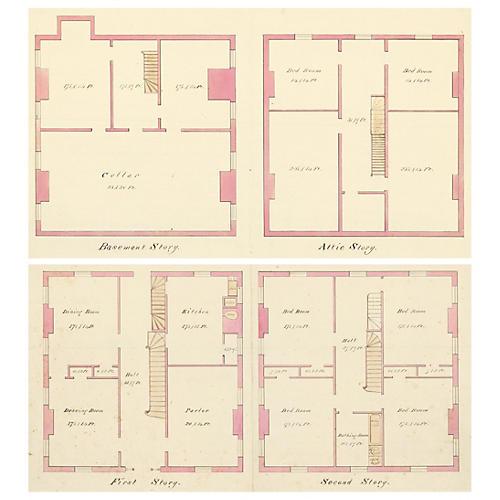 Watercolor Floor Plans, 1869, Pair