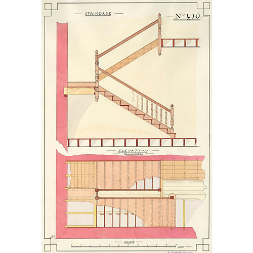 Architectural Staircase Watercolor, 1890