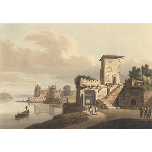 French Villa on a Lake Aquatint, 1815