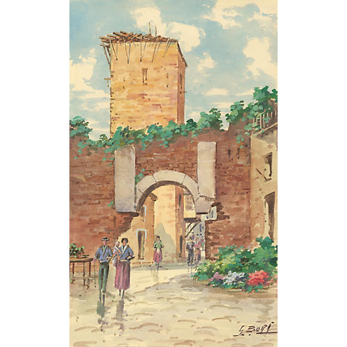 Watercolor of an Italian Village
