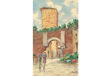 Watercolor of an Italian Village