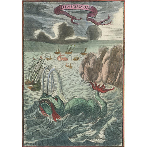 Hand-Colored Sea Monsters, 1685