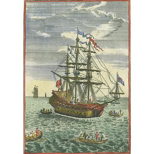 Hand-Colored Sailing Ship, 1685